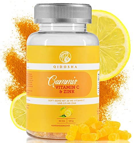 QIDOSHA® Immunsystem Gummibärchen für Kinder, Vitamin Fruchtgummis mit Zink und Vitamin C, 60 Stk